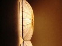 Wall mounted illuminated fabric panels from Aqua Creations provide a warm, decorative glow to hallways.